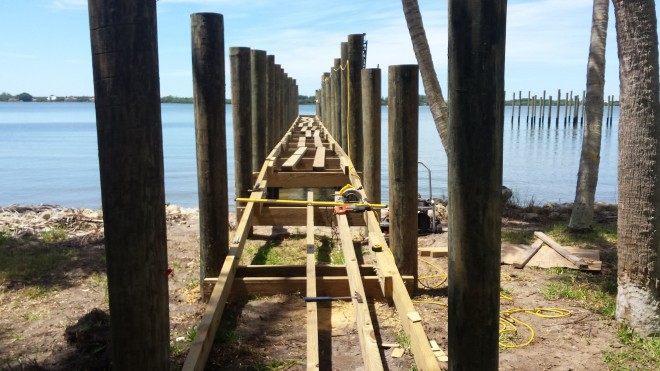 Fishing Pier stringers and substructure being assembled