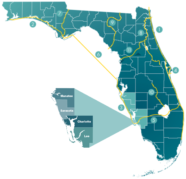 Map showing waterway locations in Florida